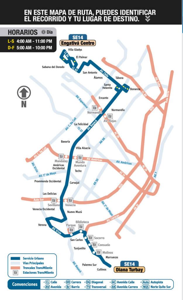mapa de la Ruta SE14 SITP Bogotá