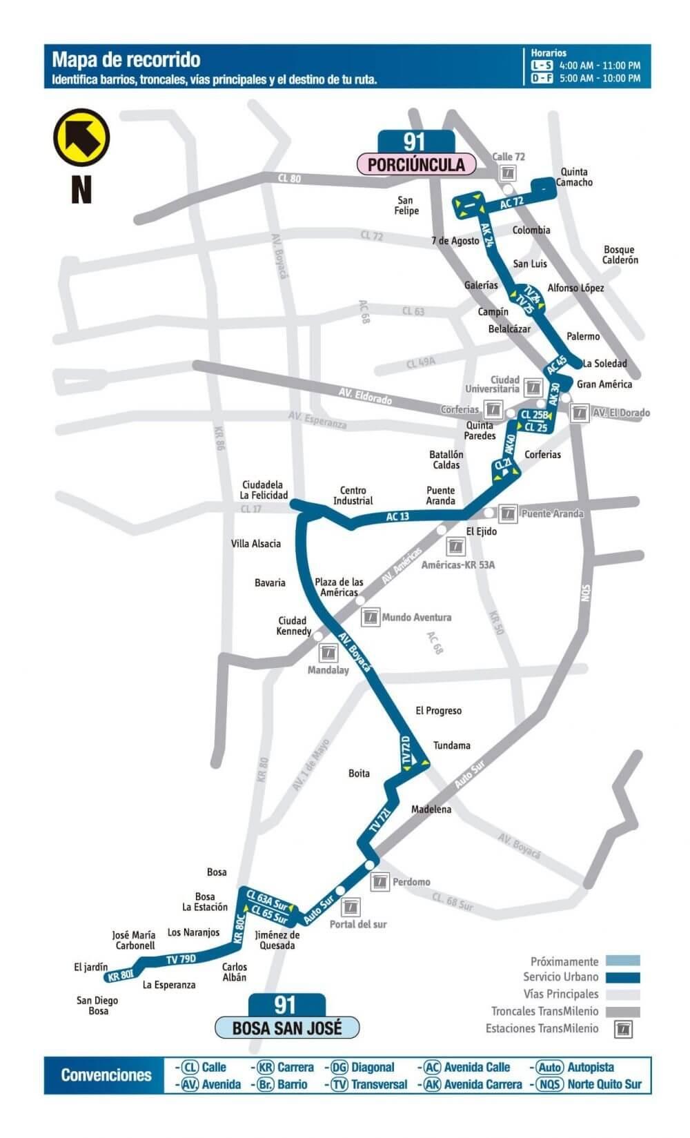 Mapa de la ruta 91 sitp