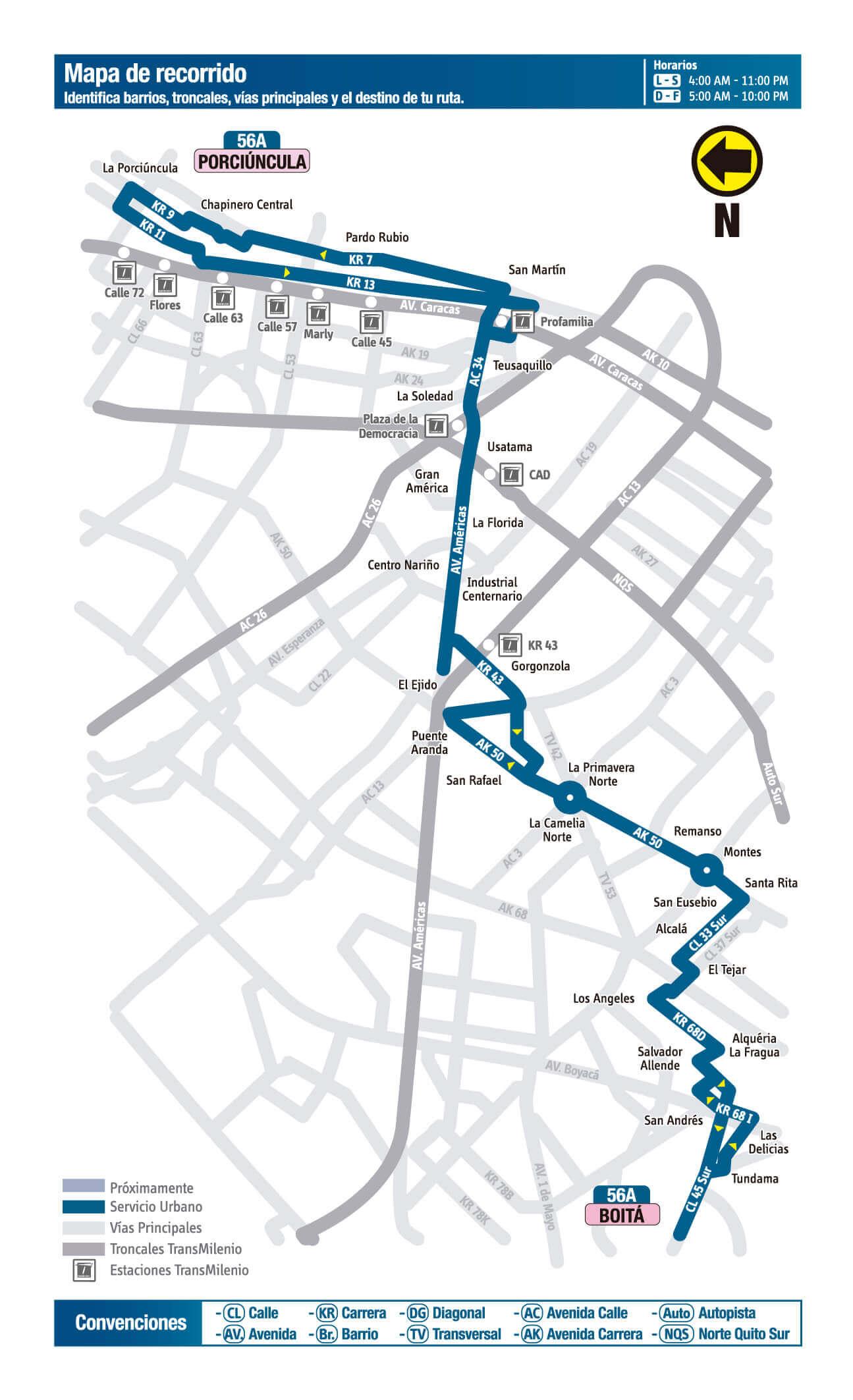 mapa de la ruta 56A Sitp