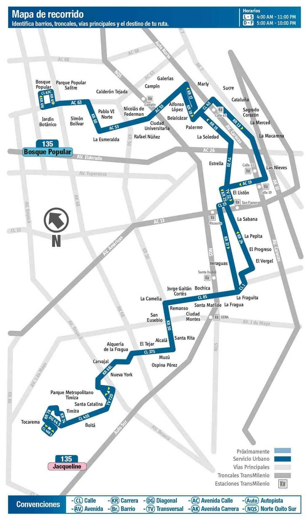 Mapa de la Ruta 135 SITP