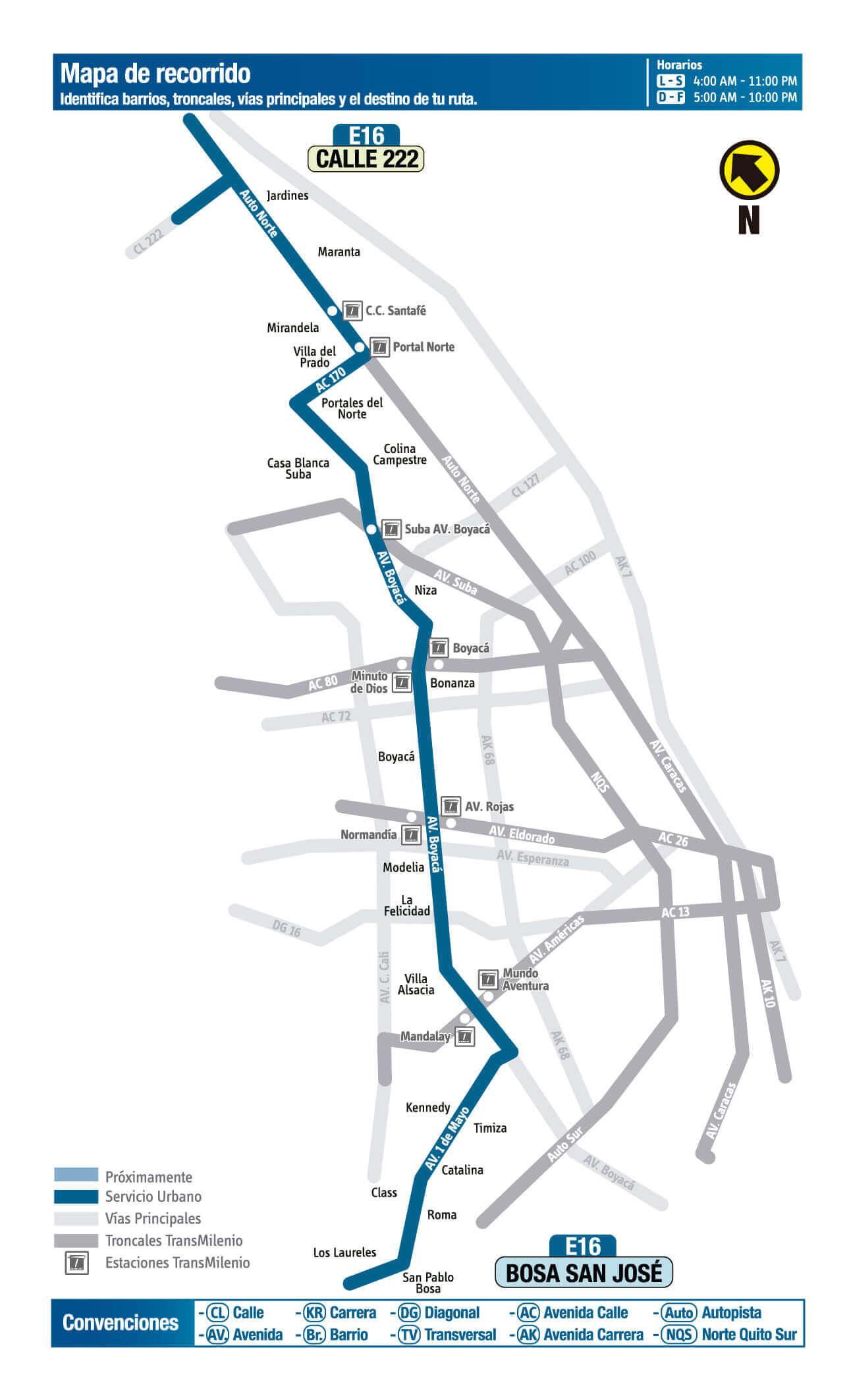 Mapa de la Ruta E16 SITP