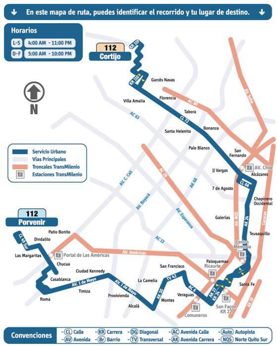 Mapa de la ruta 112 del SITP