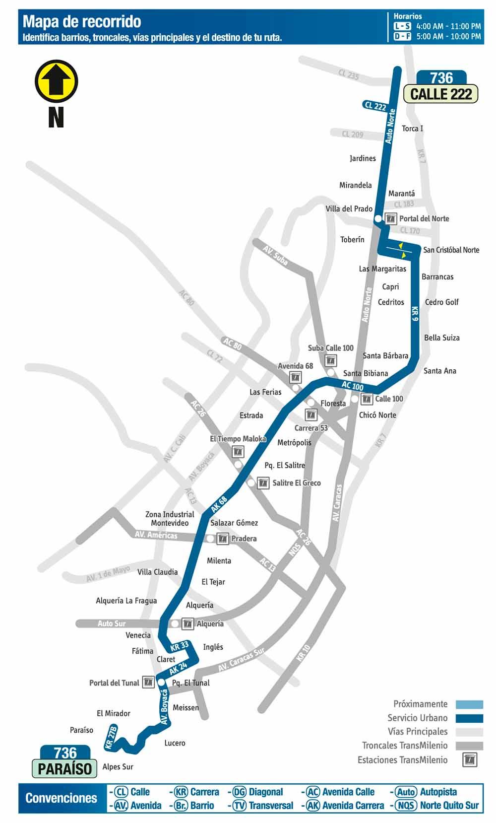 Mapa de la ruta 736 SITP