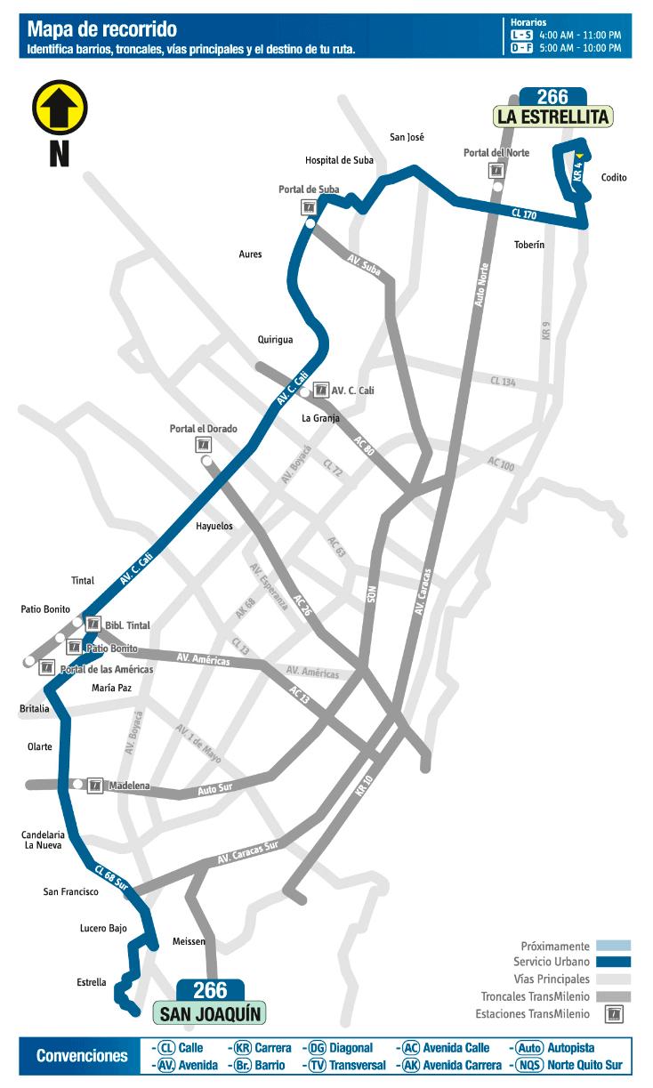 Mapa ruta 266 del SITP