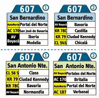 tabla de la ruta 607 del sitp
