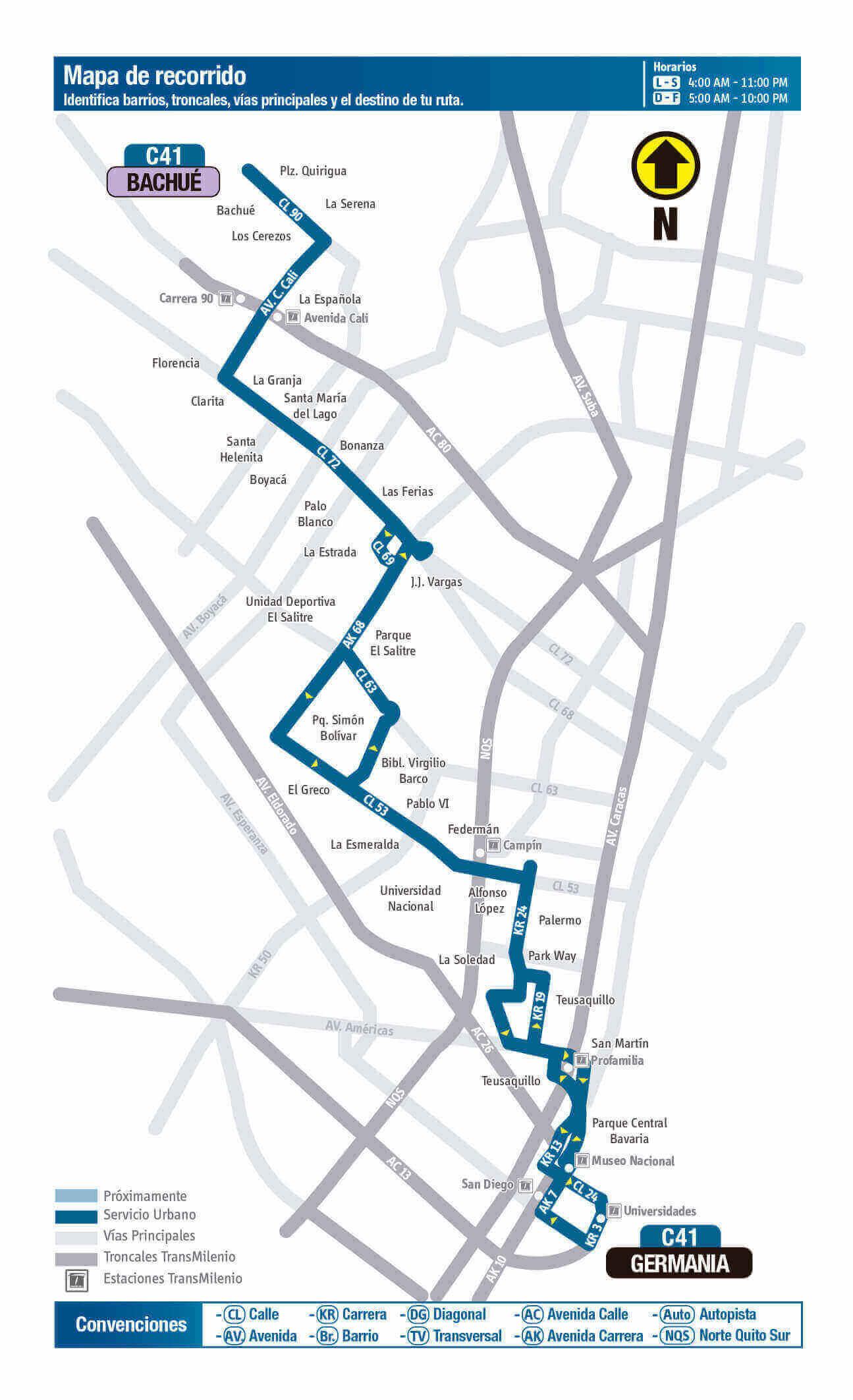 Mapa de la ruta C41 del SITP