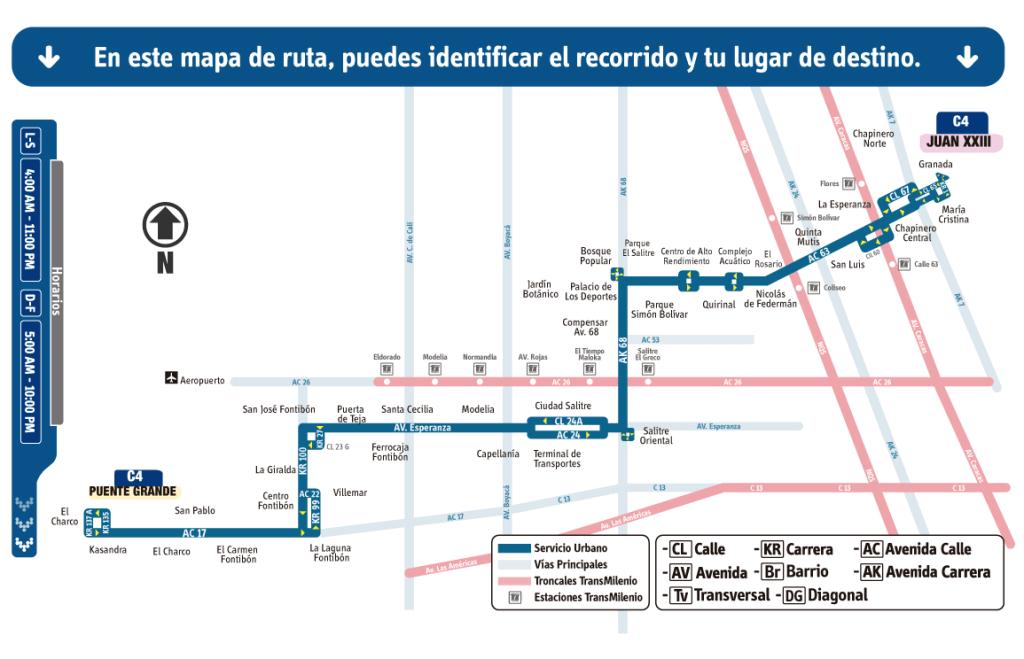 Ruta C4 Juan XXIII - Puente Grande SITP Bogotá