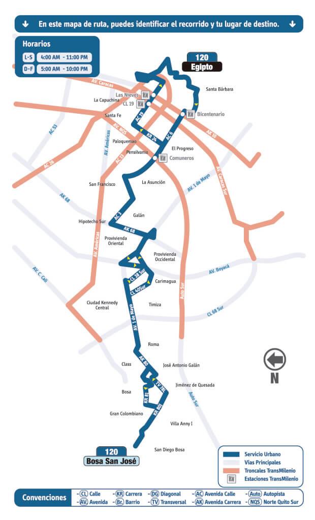 mapa de la ruta 120 del SITP