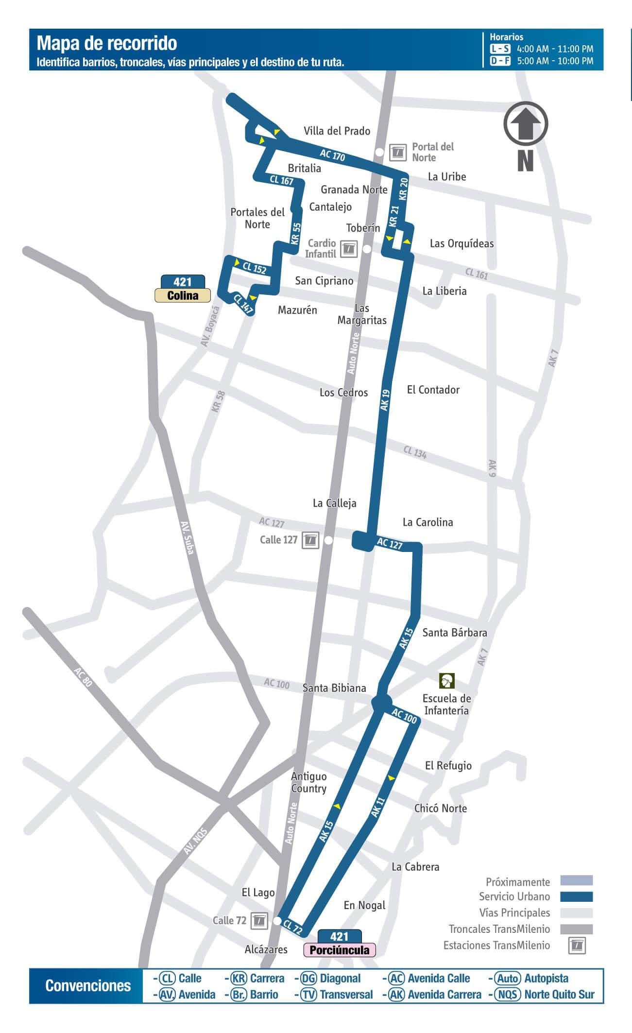 Mapa de la ruta 421 del SITP