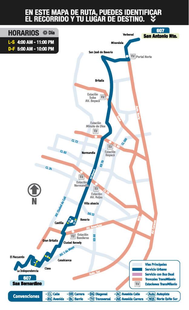 mapa de la ruta 607 del SITP
