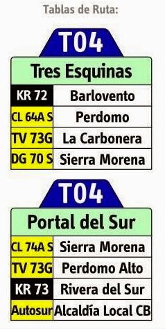 tabla de la ruta t04 del sistema de transporte de bogotá