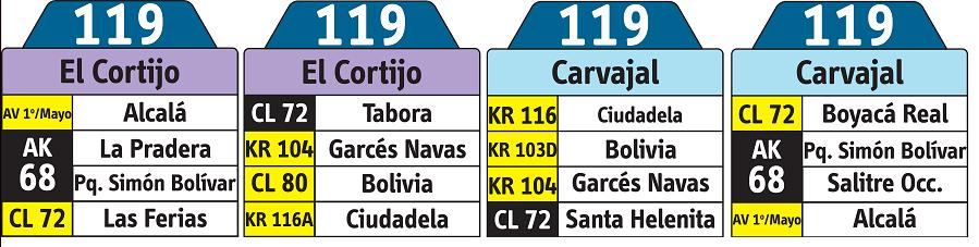 tabla de la ruta 119 del sistema integrado de transporte SITP