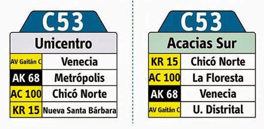 Tabla de la ruta c53 del sistema integrado de transporte Sitp de bogotá