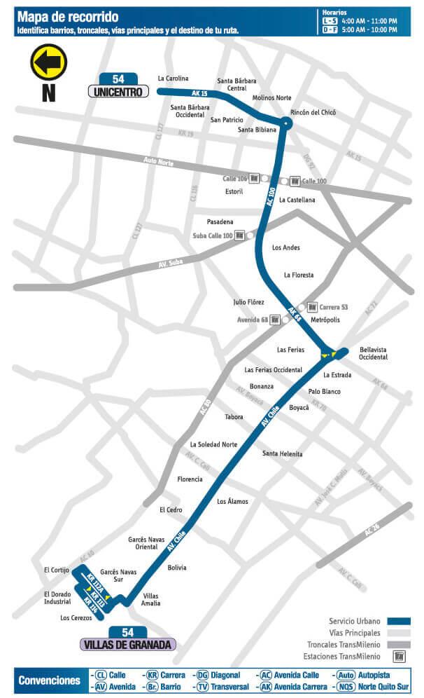 Mapa de la Ruta 54 SITP