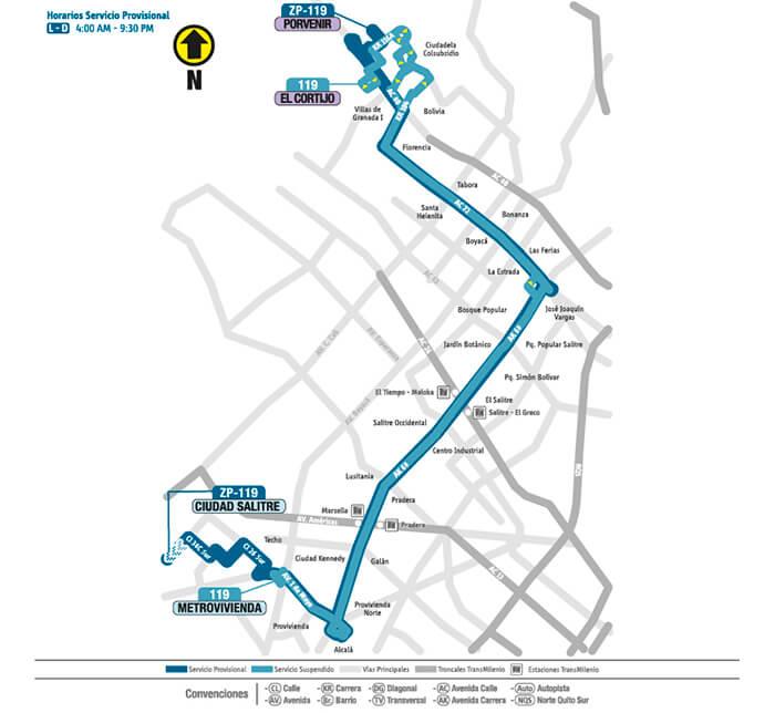 Mapa de la ruta ZP 119 SITP