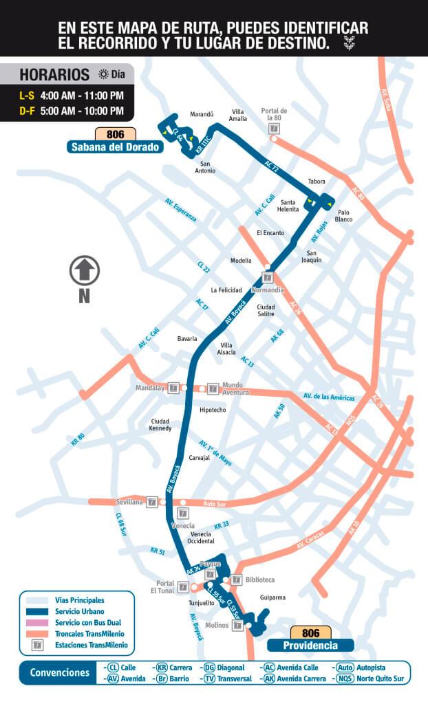 mapa de la ruta 806 del SITP