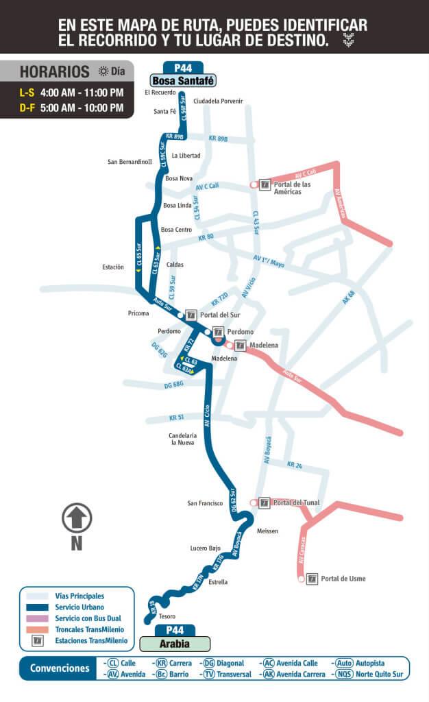 mapa de la ruta P44 del sitp
