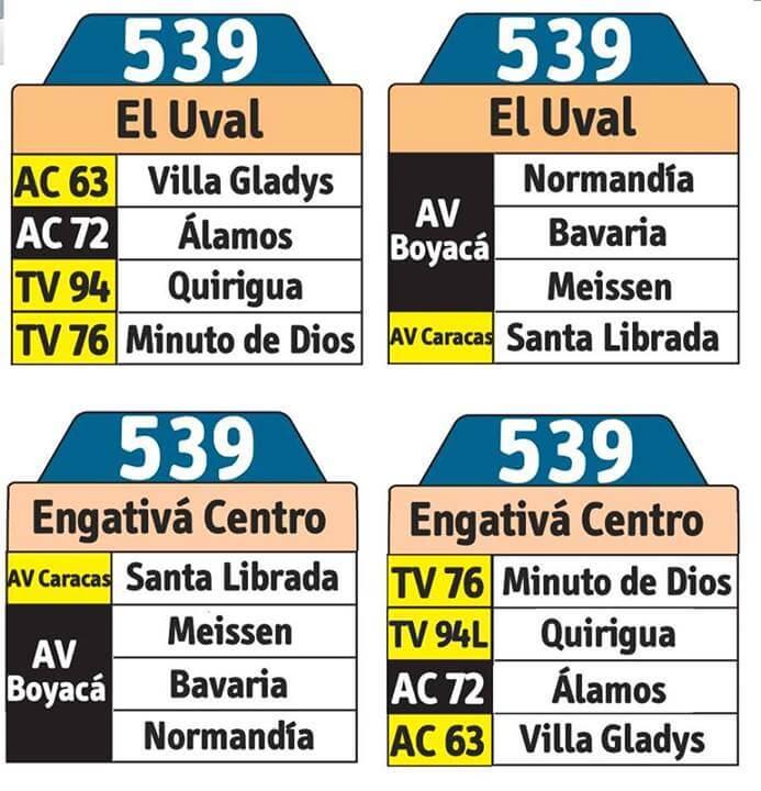 tabla de la ruta 539 sitp