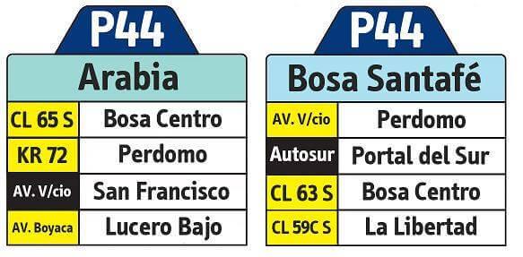 Tabla de la Ruta P44 del Sistema integrado de transporte
