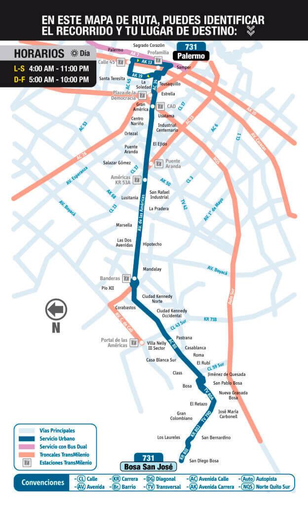 Mapa de la ruta 731 SITP