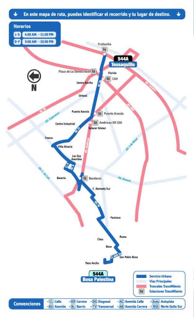 Mapa de la ruta 544A del SITP