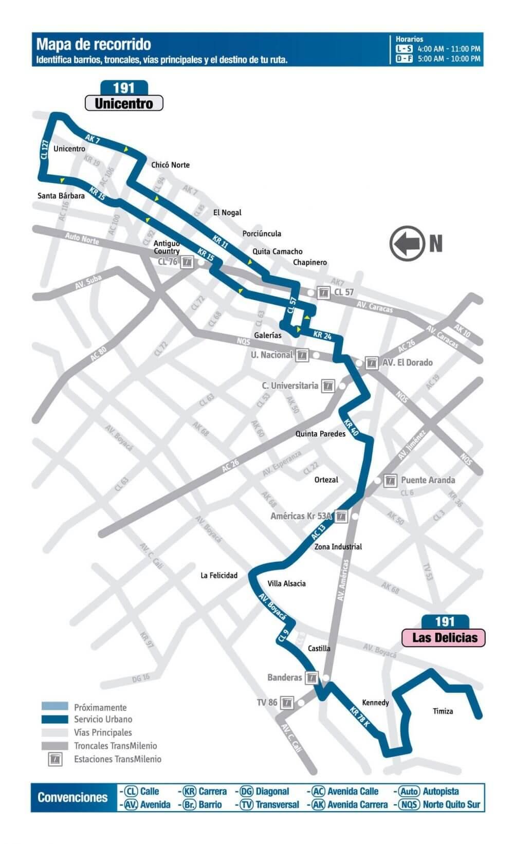 mapa de la ruta 191 del SITP