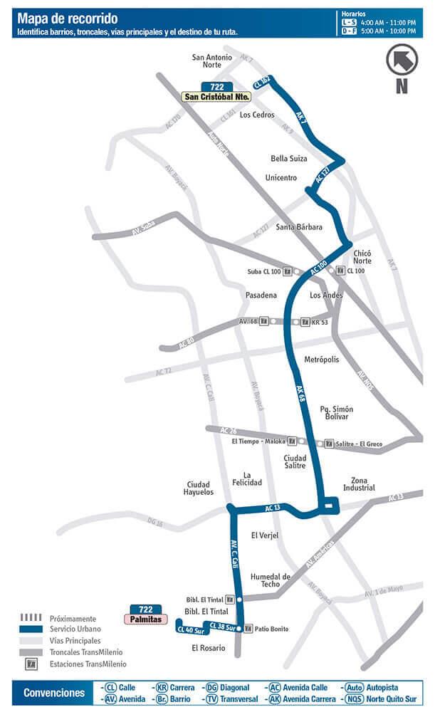 Mapa Ruta 722 SITP