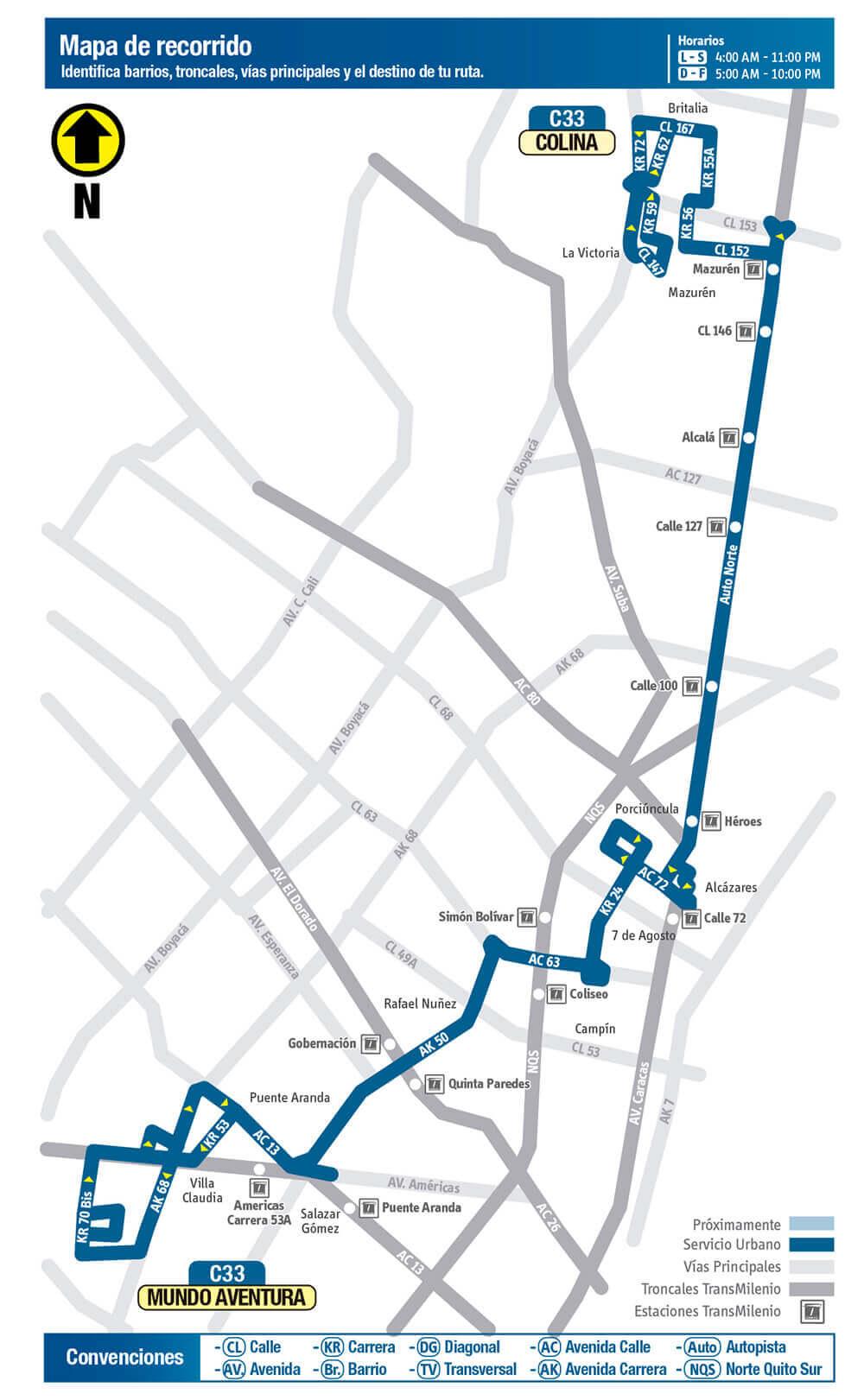 Mapa de la Ruta C33 SITP