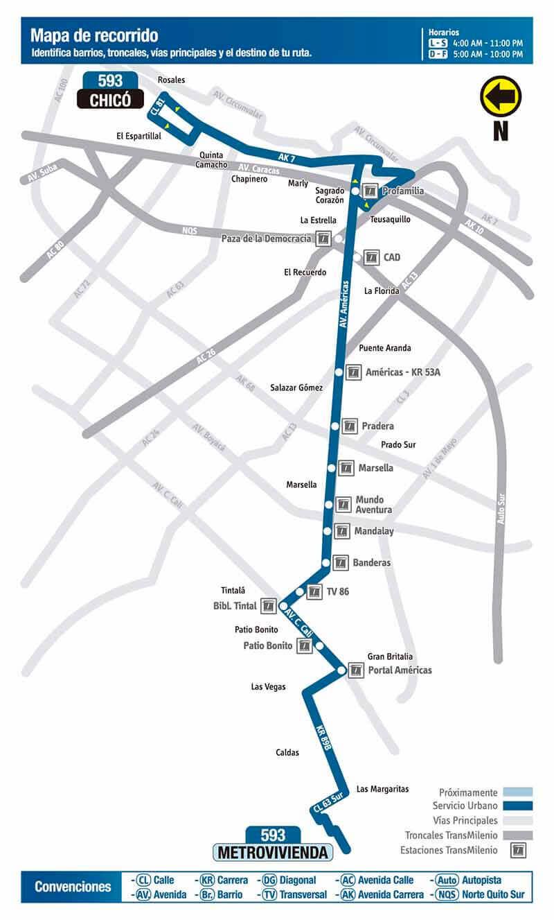Mapa de la ruta 593 del SITP