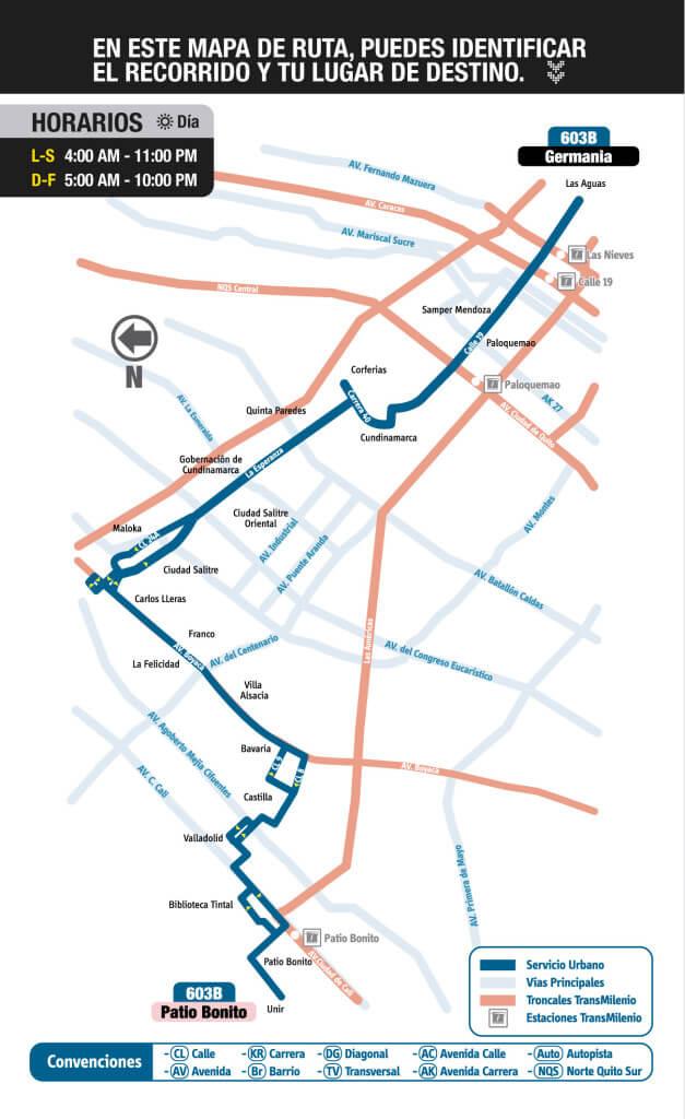 Mapa de la Ruta 603B del sitp