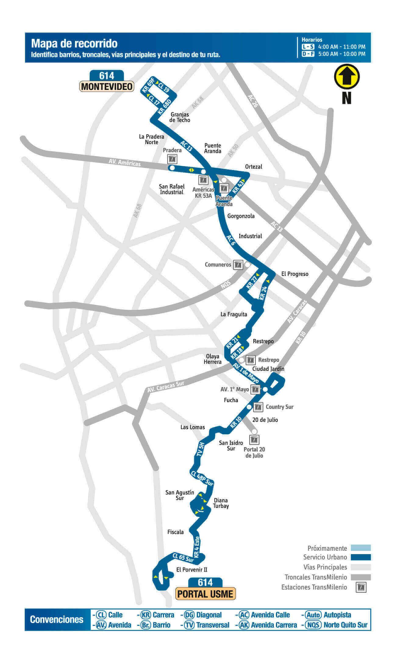 Mapa de la ruta 614 del SITP
