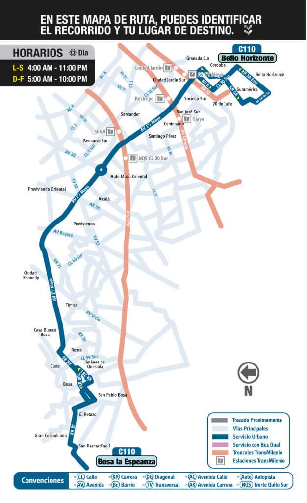 Mapa de la ruta C110 del SITP