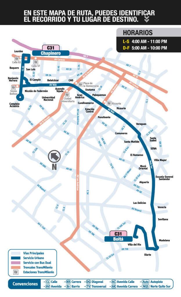 Mapa de la ruta C31 del sitp