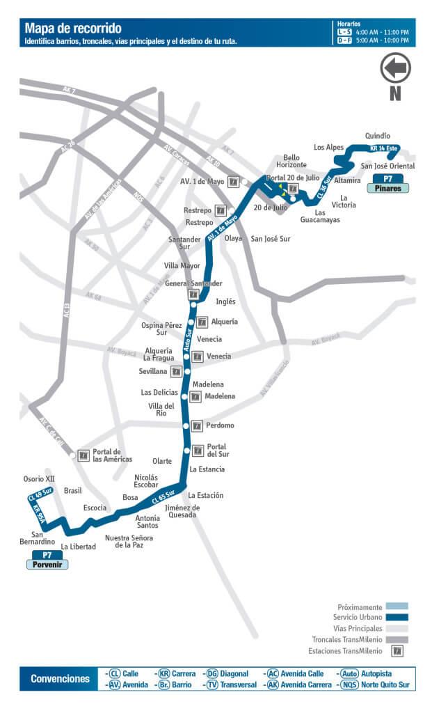 Mapa de la ruta P7 del SITP