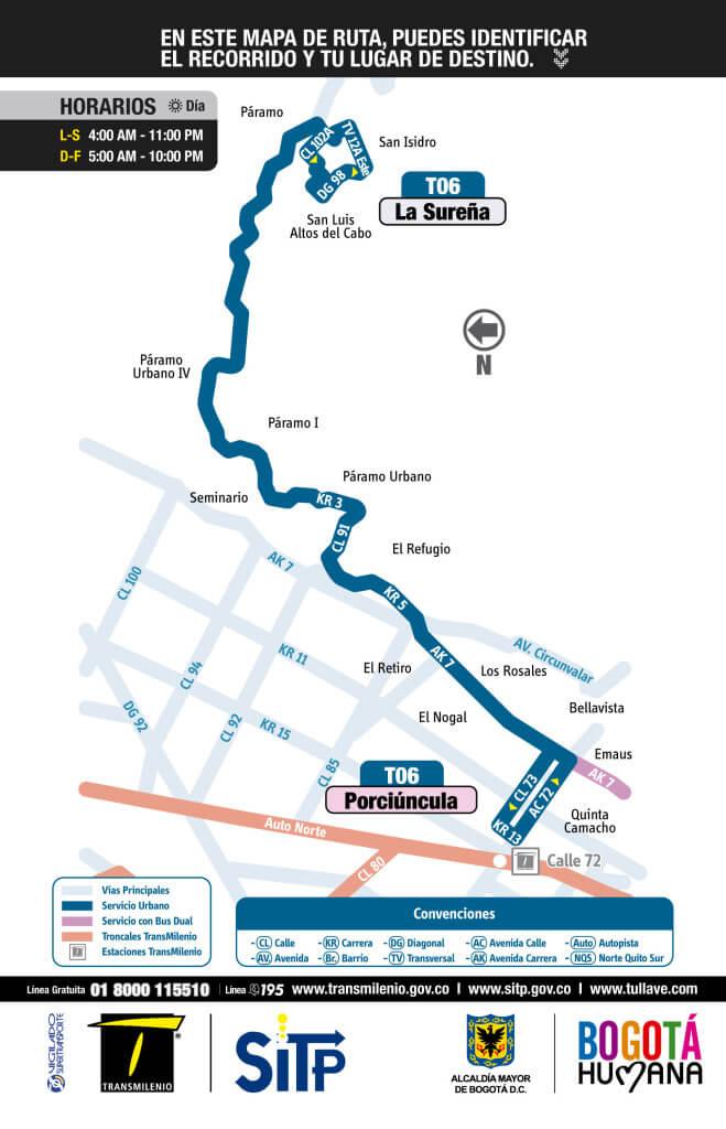 Mapa de la ruta T06 del SITP