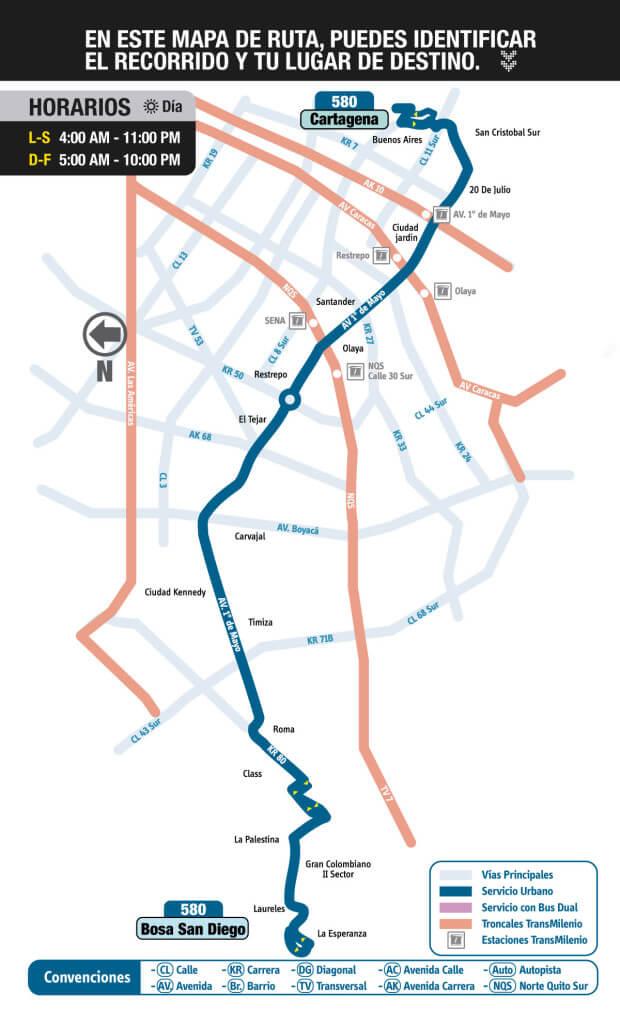 mapa de la ruta 580 del sitp
