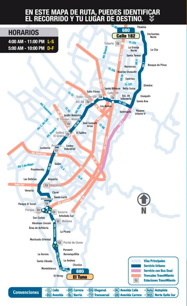 mapa de la ruta 680 del SITP