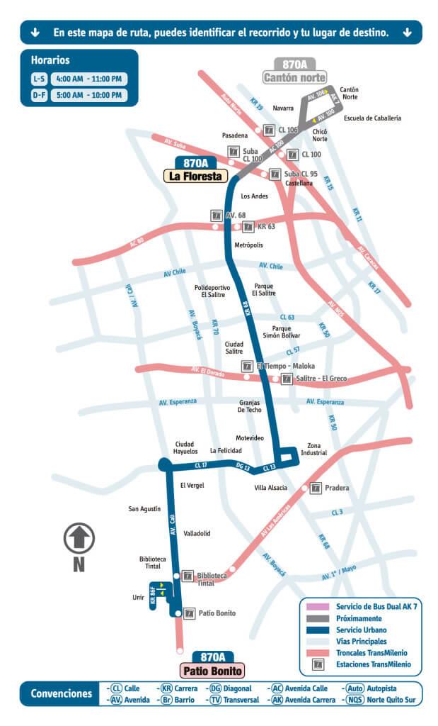 mapa de la ruta 870A del SIT