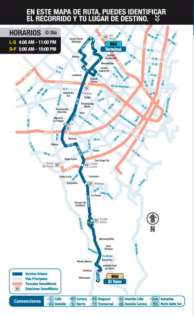 mapa de la ruta 950 del SITP