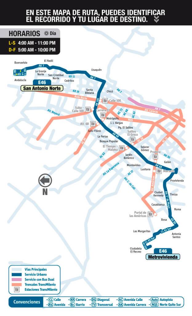 mapa de la ruta E46 SITP