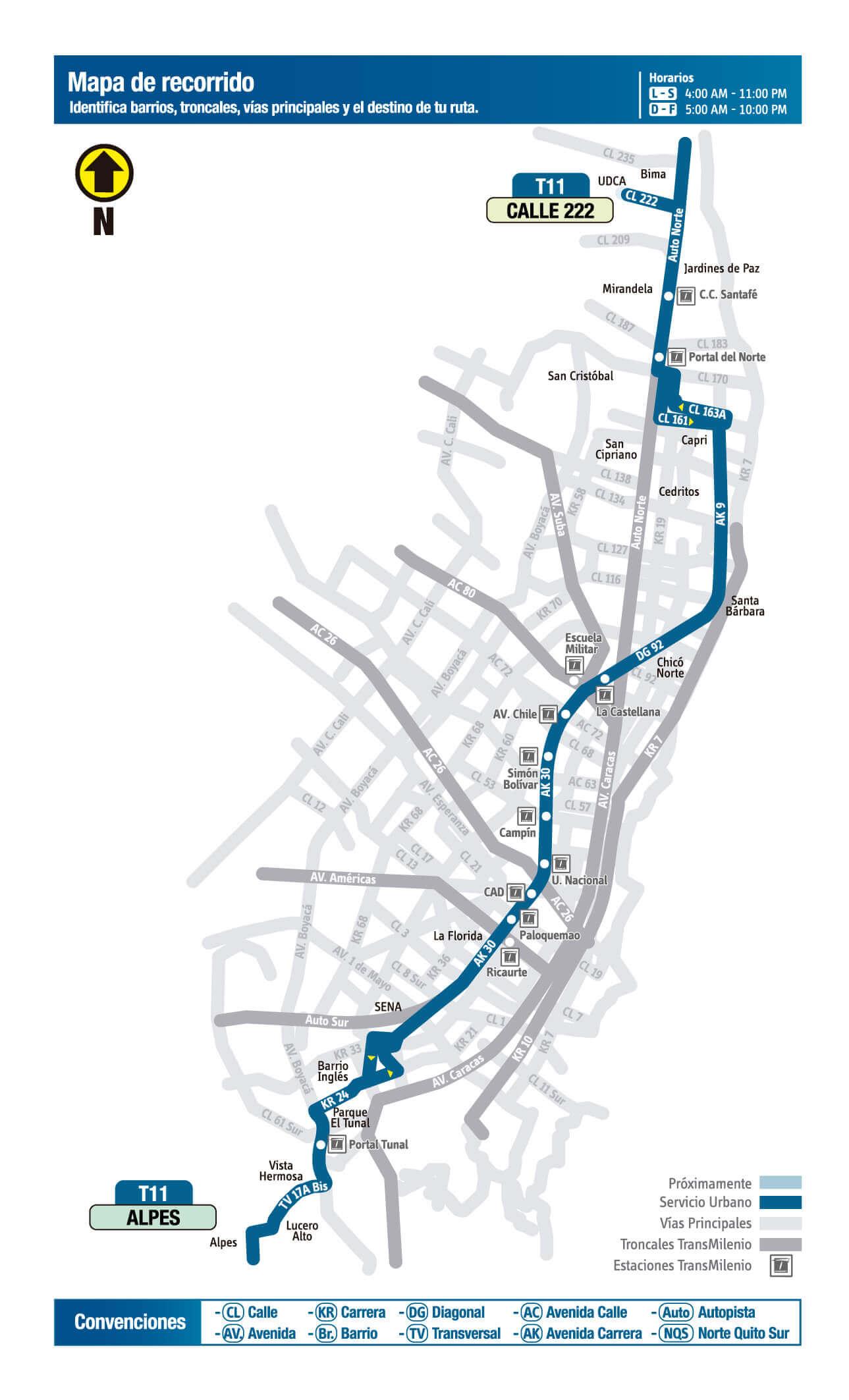 mapa de la ruta T11 del SITP