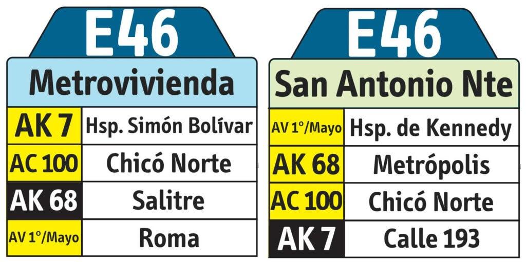 tabla de la ruta ruta e46 Del SITP