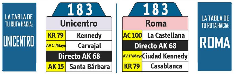 tabla de la ruta 183 del SITP