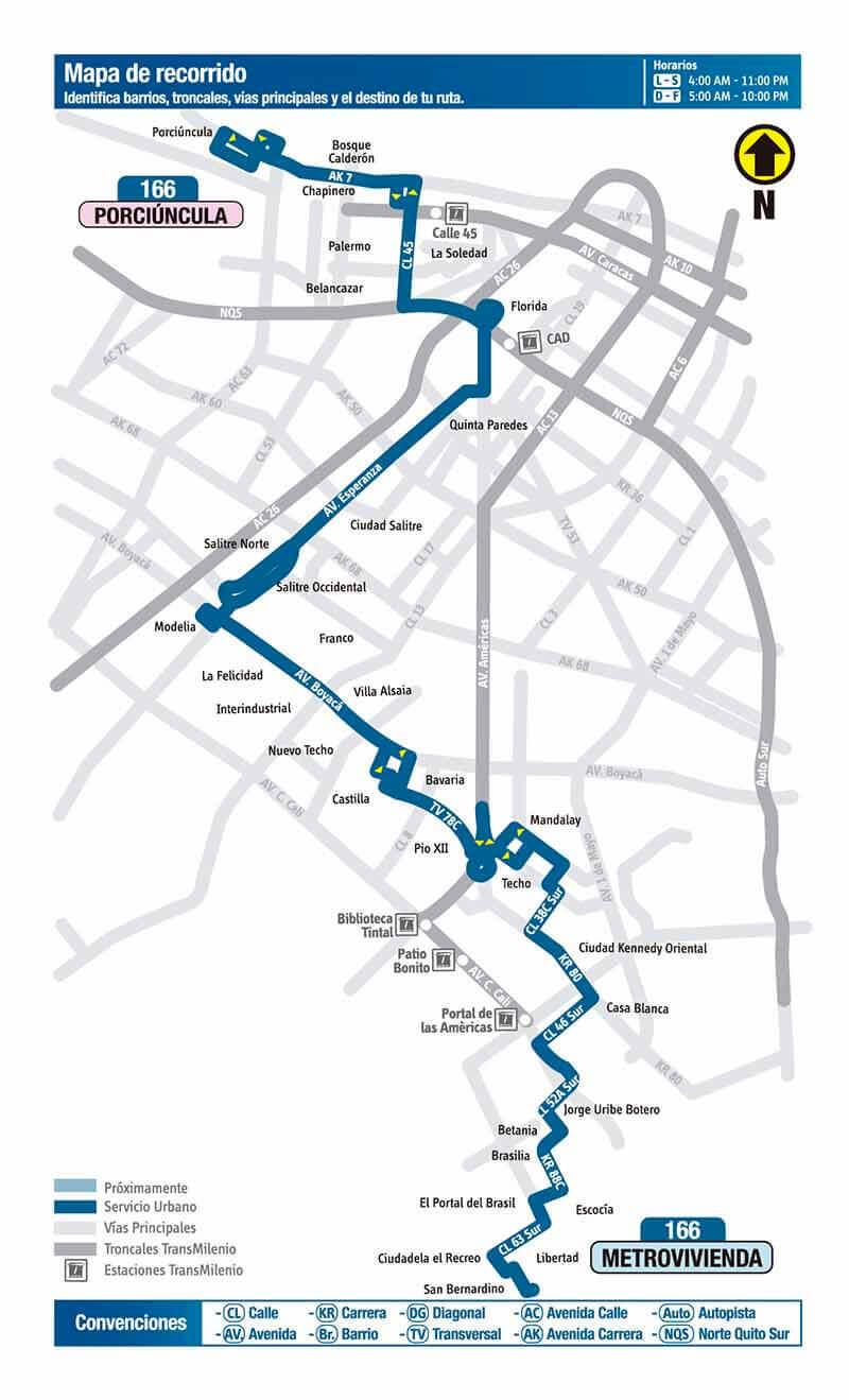 Mapa de la ruta 166 del SITP