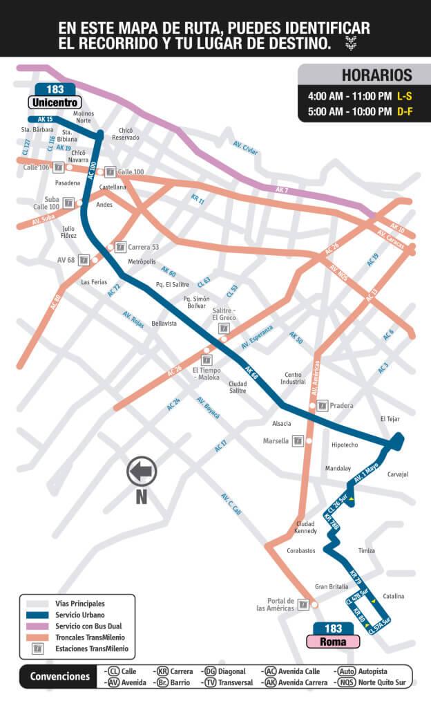 Mapa de la ruta 183 del SITP