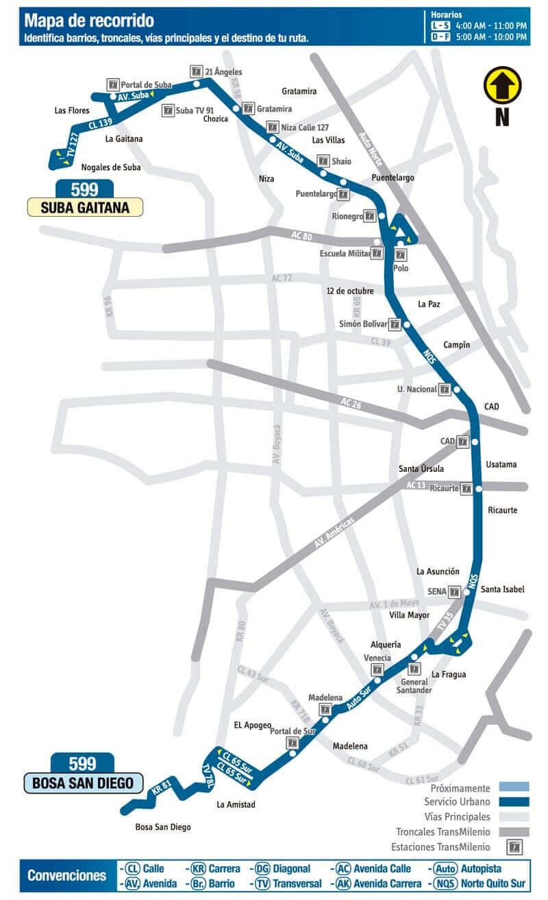 Mapa de la ruta 599 del SITP