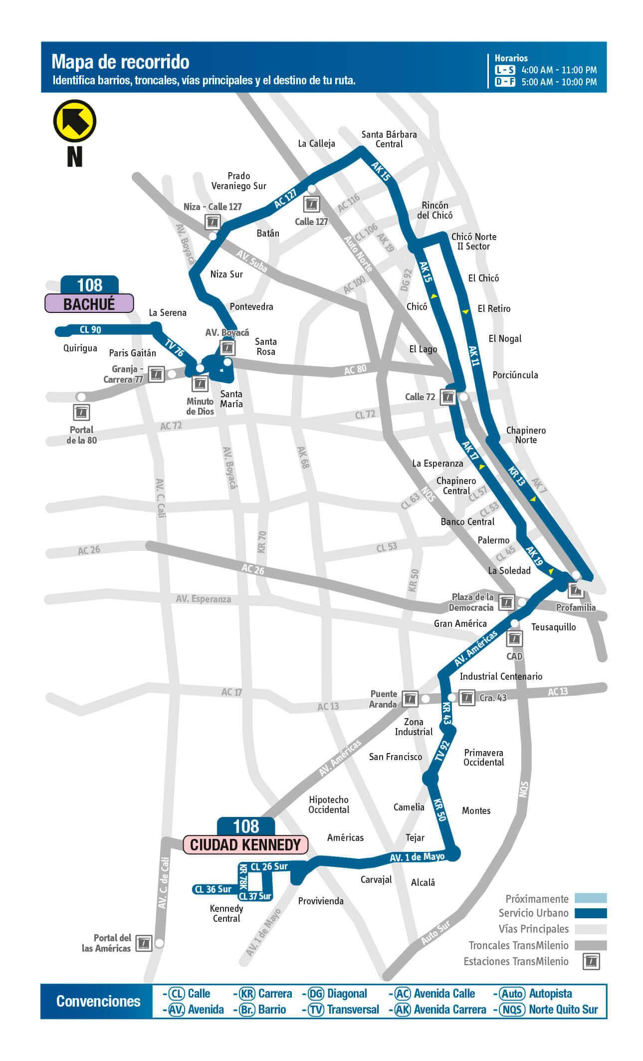 mapa de la ruta 108 del SITP