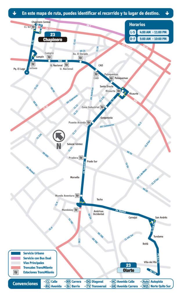 mapa de la ruta 23 del SITP