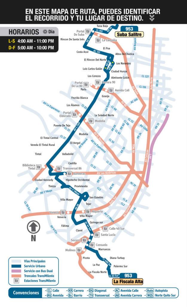 mapa de la ruta 953 del SITP