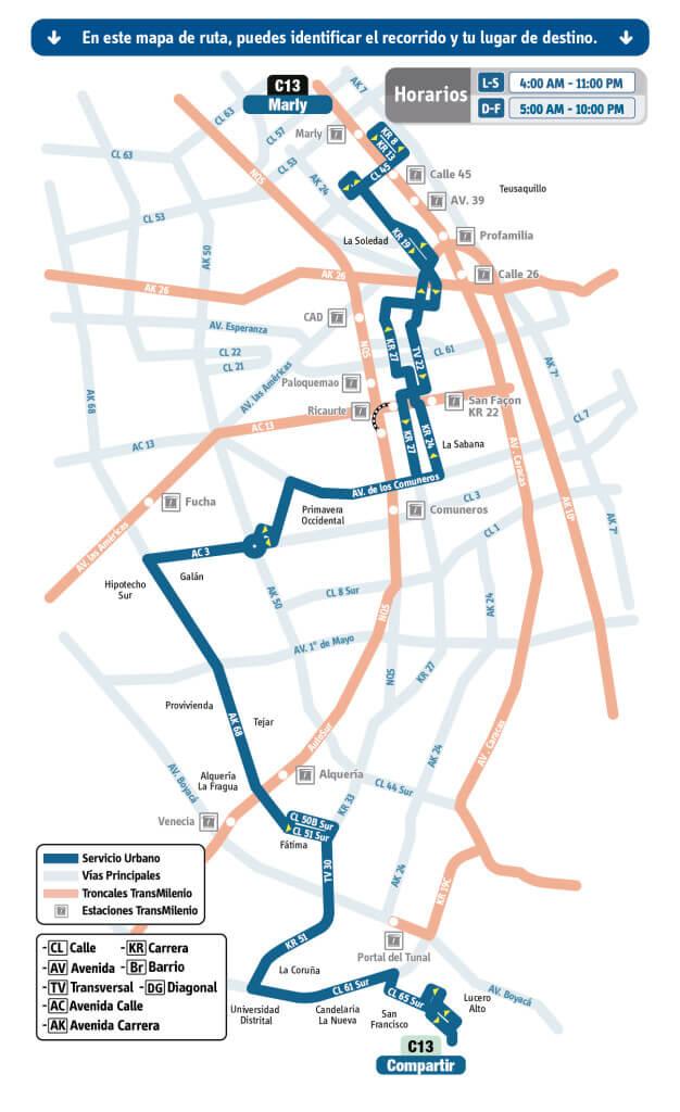 mapa de la ruta C13 del SITP